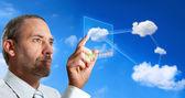 Computador futurista nuvem — Foto Stock