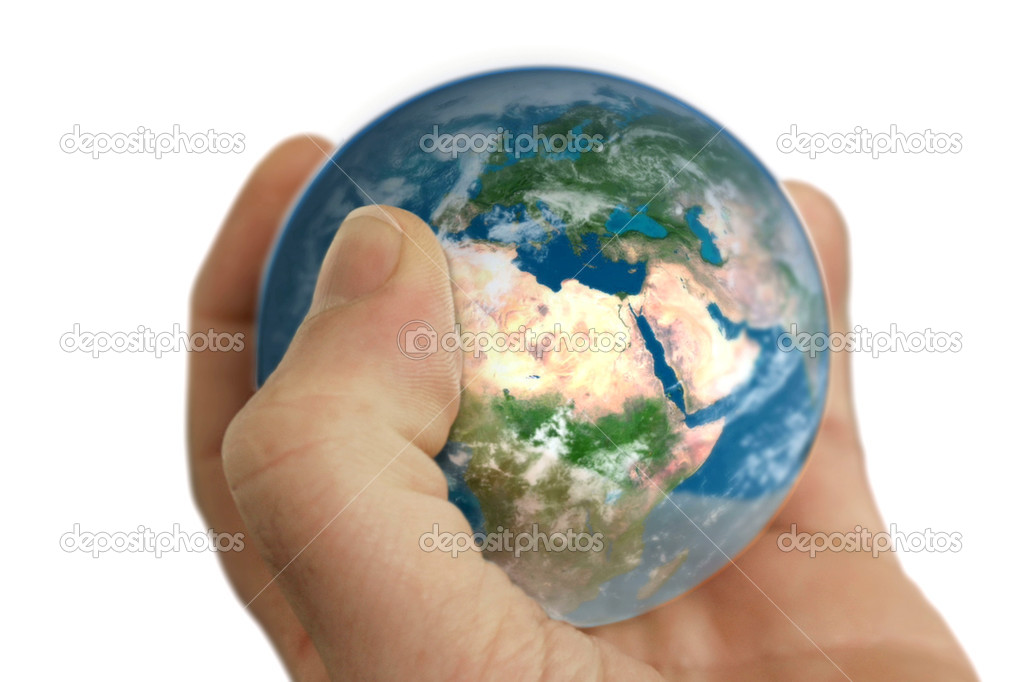 Earth in hand isolated on white — Stock Photo #5665675