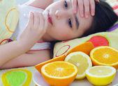 Sick little girl — Стоковое фото