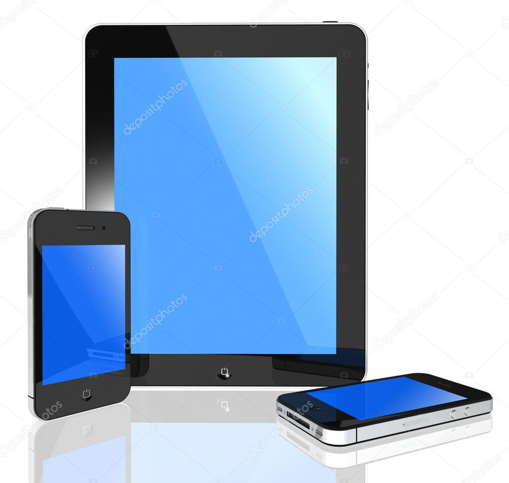 3d isolated pad and phone on white background objects — Stock Photo #5670188