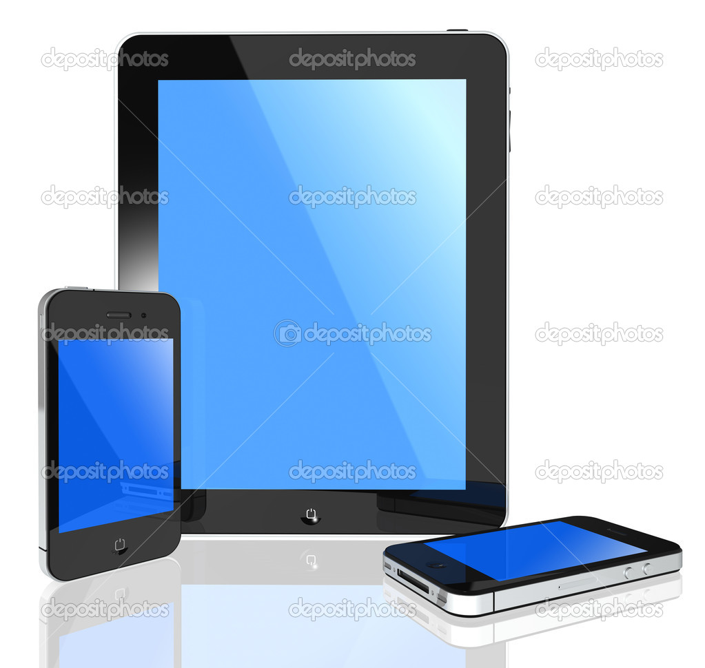 3d isolated pad and phone on white background objects  Photo #5670188