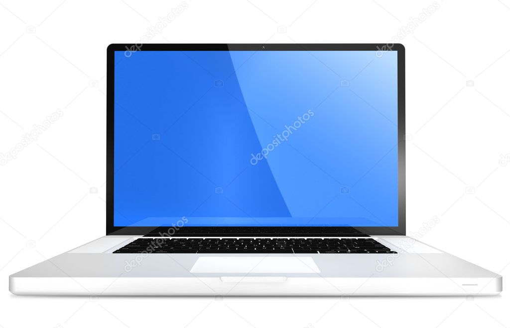 A view of an open, modern, 17 inch  laptop computer, isolated on a white background. — Stock Photo #5670252