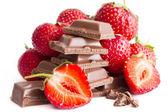 Chocholate with strawberry cream — Stock Photo