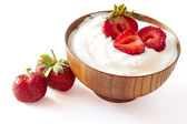 STRAWBERRY YOGURT on withe — Stock Photo