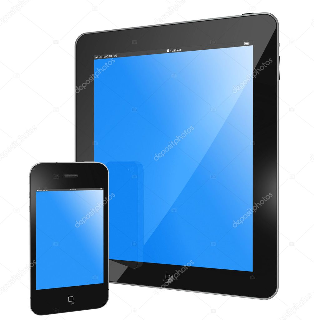New Apple tablet PC and smartPhone black glossy, blue screen isolated on white  Stock Photo #6371986