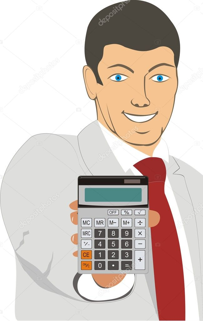 A man with a beautiful smile shows calculator — Stock Vector #5666268