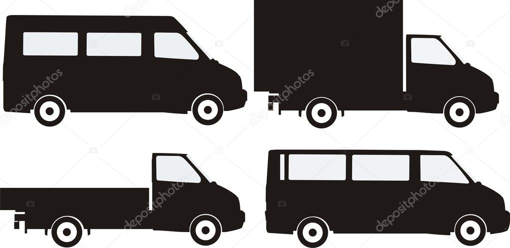 Perfectly executed vector silhouettes of small trucks — Stock Vector #5704186