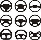 Silhouettes of steering wheels — Stock Vector