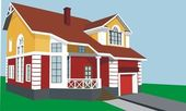 House with a porch and garage — Stock Vector