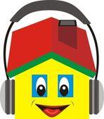 House in the headphones — Stock Vector