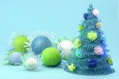 концепция дерева синий открытки новый год рождество — Стоковое фото