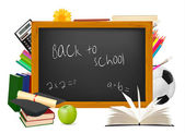 Back to school. Black desk with school supplies. Vector. — Stock Vector