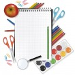Back to school. Notepad with supplies. Vector. — Vector de stock #5714467