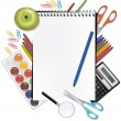 Vector de stock : Notepad with school supplies. Vector.