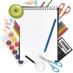 Kladblok met school supplies. vector — Stockvector