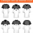 Black, and white men polo and t-shirts. Photo-realistic vector illustration — Stock Vector