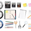 A clocks, calculators and some office supplies. Vector. — Stock Vector #5714783