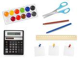 Calculadora y algunos suministros de oficina. vector. — Vector de stock