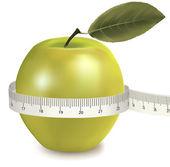 Green apple measured the meter. Vector. — Stock Vector
