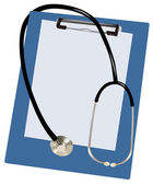 Stethoscope on the blank clipboard . Vector. — Stock Vector