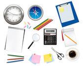Kalkulačka a nějaké kancelářské potřeby. vektor. — Stock vektor