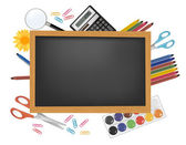 Back to school. Black desk with supplies. Vector. — Stock Vector