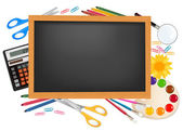 Blackboard with school supplies. Vector. — Stock Vector