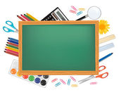 Greenboard with school supplies. Vector. — Stock Vector