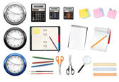 A clocks, calculators and some office supplies. Vector. — Stock Vector