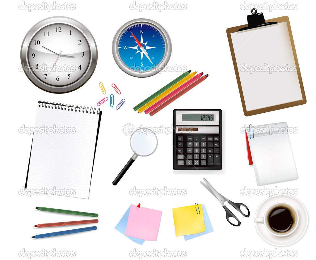 Calculator and some office supplies. Vector.  — Stock Vector #5714662