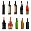 Set of different bottles. Vector illustration. — Imagens vectoriais em stock