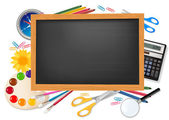 Blackboard with school supplies. Vector. — Stok Vektör
