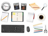Clock, calculators and some office supplies. Vector. — Stock Vector