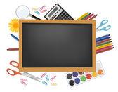 Blackboard with school supplies. Vector. — Stock Vector