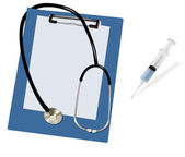 Stethoscope on the blank clipboard and syringe. Vector. — Stock Vector