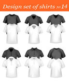 Black and white men polo shirts and t-shirts. Photo-realistic vector. — Stock Vector