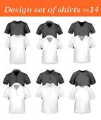 Schwarze und weiße männer polo-shirts und t-shirts. fotorealistische vektor. — Stockvektor