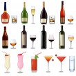 Set of different drinks and cocktails. Vector illustration. — Stock Vector