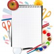 图库矢量图片: Back to school. Notepad with supplies. Vector.