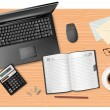 Notebook, calculator and office supplies on the table. Vector. — Stock Vector #5752470