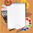 Back to school. Notepad with supplies. Vector. — Stock Vector