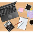 Notebook, phone and office supplies, laying on the table. Vector. — Stock Vector