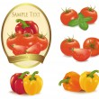 Photo-realistic vector illustration. Label with vegetables. - Stock Vector