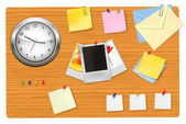 Brown blackboard with office supplies. Vector. — Stock Vector