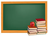 School books with apples on the desk. Vector. — Stock Vector