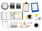 A clock, calculators and some office supplies. Vector. — Stock Vector