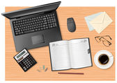 Notebook, calculator and office supplies on the table. Vector. — Stock Vector
