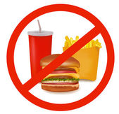 Photo-realistic vector illustration. Fast food danger label (colored). — Vector de stock