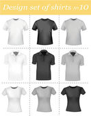 Black and white t-shirts. Photo-realistic vector illustration. — Stock Vector