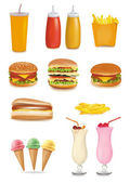 Photo-realistic vector. Big group of food. — Stock Vector
